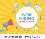 we hire a web designer.... | Shutterstock .eps vector #599176148