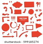 set of hand drawn arrows and... | Shutterstock .eps vector #599185274