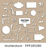 set of hand drawn doodle arrows.... | Shutterstock .eps vector #599185280