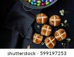 hot cross buns | Shutterstock . vector #599197253