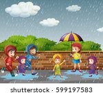 many children running in the... | Shutterstock .eps vector #599197583