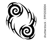 vector tribal tattoo designs....   Shutterstock .eps vector #599203004