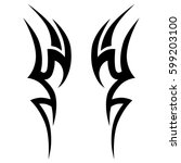 Vector Tribal tattoo designs. Tribal tattoos. Art tribal tattoo. Vector sketch of a tattoo.   Shutterstock vector #599203100