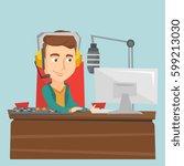 male radio dj working in front... | Shutterstock .eps vector #599213030