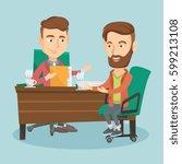 two caucasian businessmen... | Shutterstock .eps vector #599213108