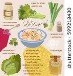 coleslaw salad recipe. vector... | Shutterstock .eps vector #599218430