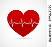 red heart icon with sign... | Shutterstock .eps vector #599219030