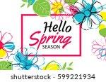 hello spring banner template... | Shutterstock .eps vector #599221934