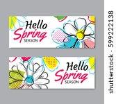 hello spring sale banner... | Shutterstock .eps vector #599222138