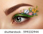 eye makeup girl with a flowers. ... | Shutterstock . vector #599232944