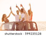 five young people having fun in ... | Shutterstock . vector #599235128