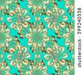 damask background. golden...   Shutterstock .eps vector #599240558