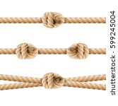 realistic rope line eith knot.... | Shutterstock .eps vector #599245004