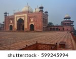 view of the mosque at taj mahal ... | Shutterstock . vector #599245994