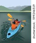 kayaking | Shutterstock .eps vector #599246519