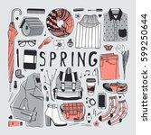 hand drawn fashion illustration.... | Shutterstock .eps vector #599250644
