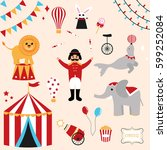 colorful vector set of circus... | Shutterstock .eps vector #599252084