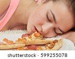 Fun Sad Overeat Girl Lying Wit...