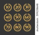 anniversary wreath set  vector... | Shutterstock .eps vector #599258648