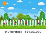 summer and spring nature... | Shutterstock . vector #599261030