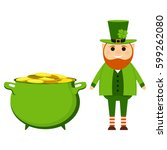 cartoon leprechaun on st.... | Shutterstock .eps vector #599262080