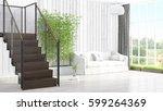 modern bright interior . 3d... | Shutterstock . vector #599264369