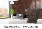 modern bright interior . 3d... | Shutterstock . vector #599265398