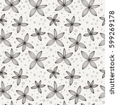 doodle seamless floral pattern. ... | Shutterstock .eps vector #599269178