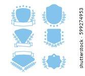 flat badge set with laurel... | Shutterstock .eps vector #599274953