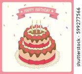 vector of strawberry cake... | Shutterstock .eps vector #599277566