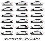 realistic car. big sedan set.... | Shutterstock .eps vector #599283266