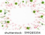 flowers composition. frame made ... | Shutterstock . vector #599285354