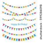 multicolored bright buntings... | Shutterstock .eps vector #599286098