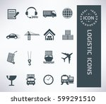 logistic icon set clean vector   Shutterstock .eps vector #599291510