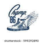 vintage sneakers with wings | Shutterstock .eps vector #599292890