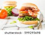 delicious home made bacon...   Shutterstock . vector #599295698