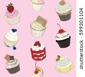 cupcake pattern on pastel... | Shutterstock .eps vector #599301104