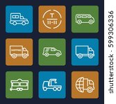 truck icons set. set of 9 truck ... | Shutterstock .eps vector #599306336
