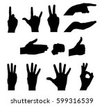 Silhouettes Of Hands   Stock...