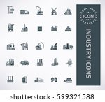 industry icon set clean vector | Shutterstock .eps vector #599321588