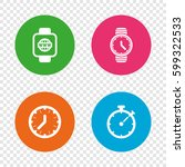 smart watch with internet icons.... | Shutterstock .eps vector #599322533