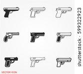 gun icons | Shutterstock .eps vector #599322923