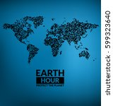 earth hour design   dark world... | Shutterstock .eps vector #599323640