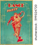 Dance Party Poster Design Template. Retro dance Typography flyer invitation vector illustration. Art Deco Epoch 1920