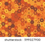retro geometric hexagon... | Shutterstock .eps vector #599327930