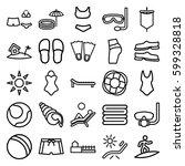 beach icons set. set of 25... | Shutterstock .eps vector #599328818