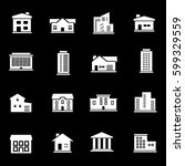 vector white buildings icons set | Shutterstock .eps vector #599329559