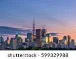 toronto city at sunset  ontario ... | Shutterstock . vector #599329988