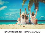 happy family with two kids... | Shutterstock . vector #599336429