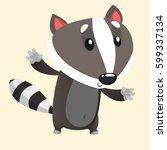 cute cartoon badger or raccoon. ... | Shutterstock .eps vector #599337134